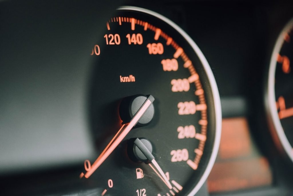 A speedometer showing the fuel guage