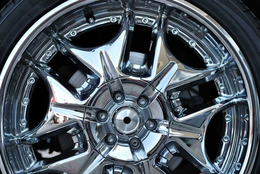 chrome plated rim of a wheel