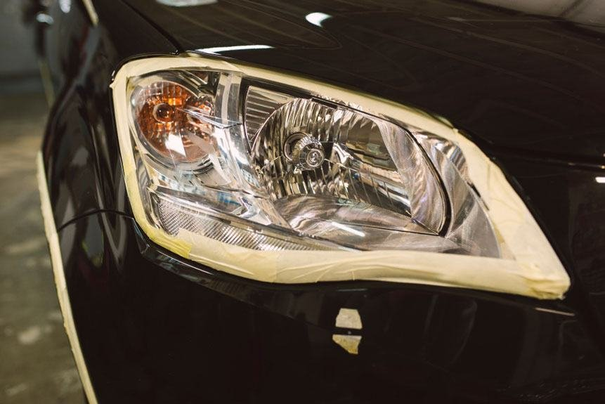 tape masking headlights